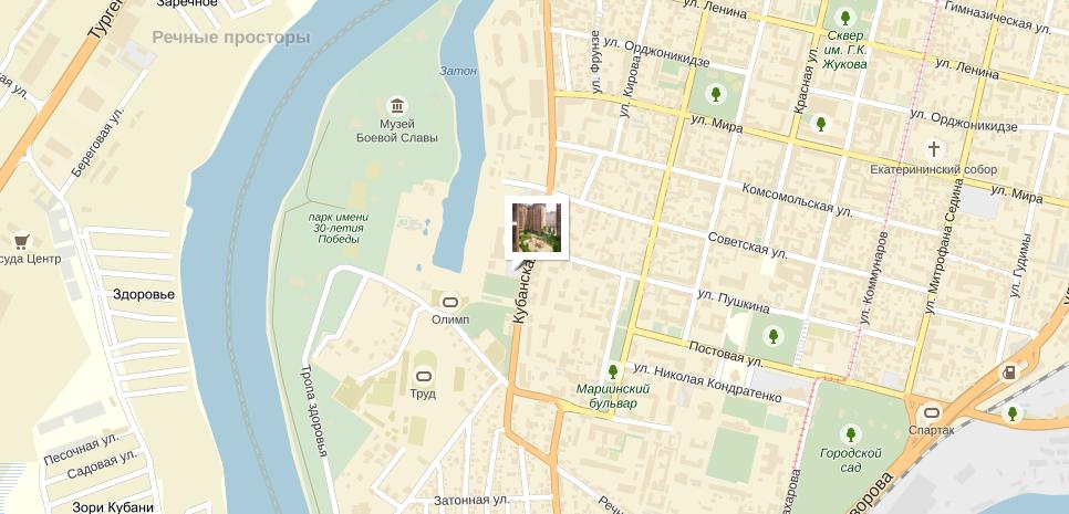 ЖК Солнечный Дом на кубанской набережной на карте