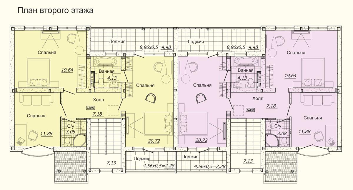 Планировка дуплексов в КП Немецкая деревня Краснодар